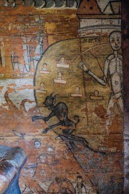 Roumanie, Maramures, fresque dans église en bois